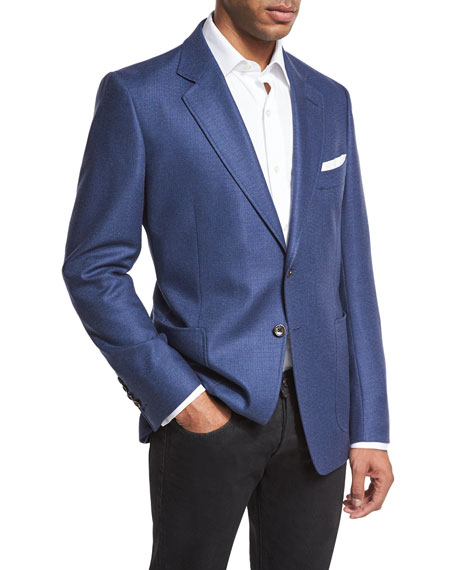 O'Connor Base Hopsack Sport Coat, Denim Blue