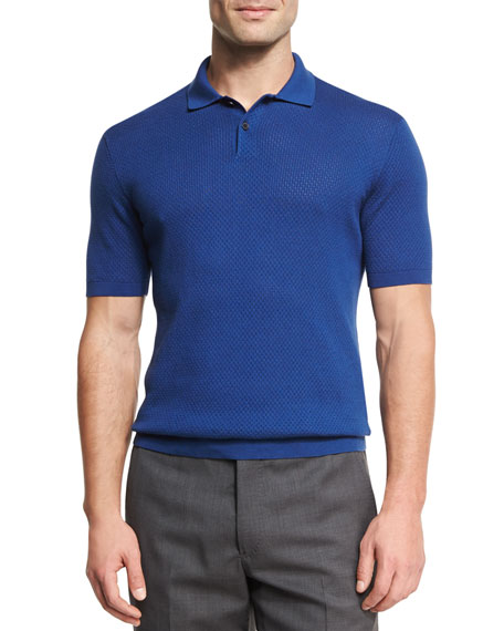 Silk-Cotton Perforated Polo Shirt, Medium Blue
