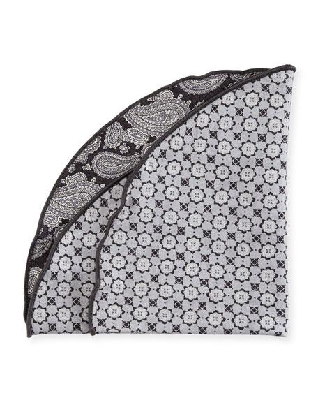 Paisley Floral Reversible Pocket Circle, Charcoal/Gray