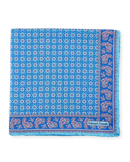 Edward Armah Neat Medallion Pocket Square, Aqua/Navy Blue