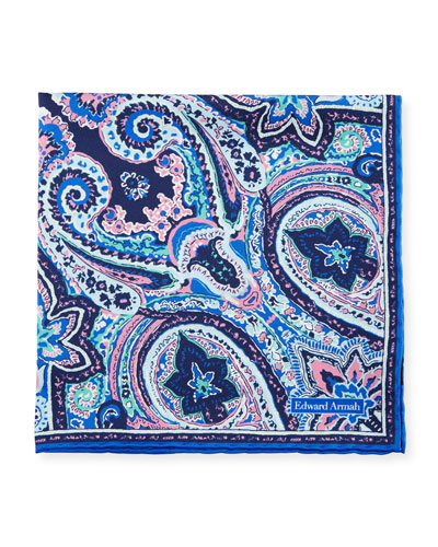 Exploded Paisley Pocket Square, Navy Blue