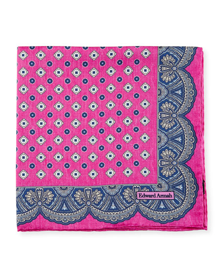 Edward Armah Medallion Pocket Square, Hot Pink