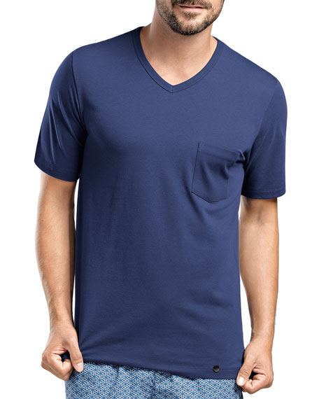 Hanro Harvey V-Neck T-Shirt, Dark Blue