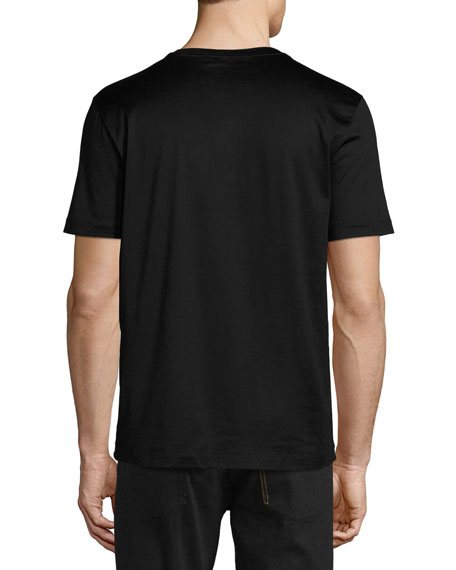 Gancini Leather-Pocket T-Shirt, Black