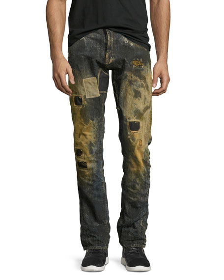 PRPS Upheaval Ripped & Patched Slim-Straight Jeans, Indigo