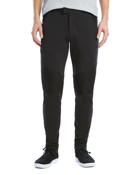 2Xist Stretch-Knit Moto Pants, Black