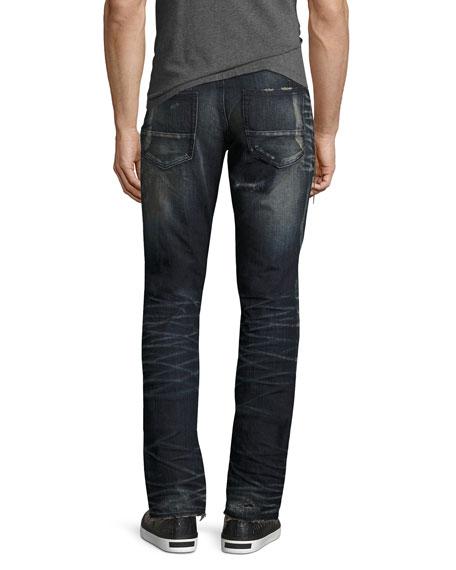 Demon Dark Wash Slim Jeans with Zipper, Fossil