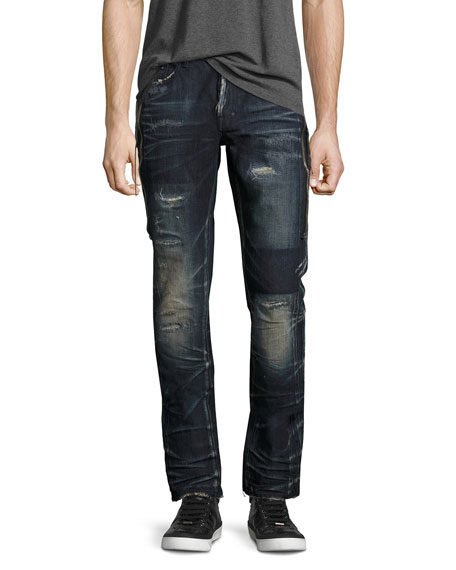 PRPS Demon Dark Wash Slim Jeans with Zipper,