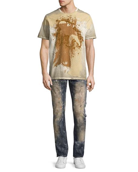 Demon Erosion Paint Splatter Slim Jeans, Indigo