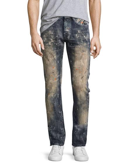 PRPS Demon Erosion Paint Splatter Slim Jeans, Indigo