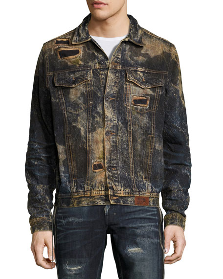 Compaction Dirty Denim Jacket with Patches, Indigo