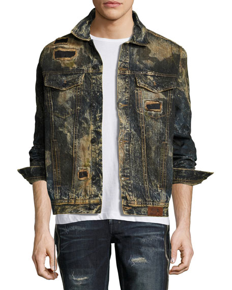 PRPS Compaction Dirty Denim Jacket with Patches, Indigo