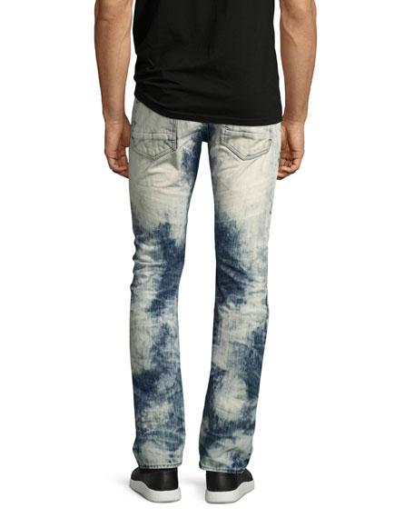 Demon Joint Heavy Bleached Moto Jeans, Indigo