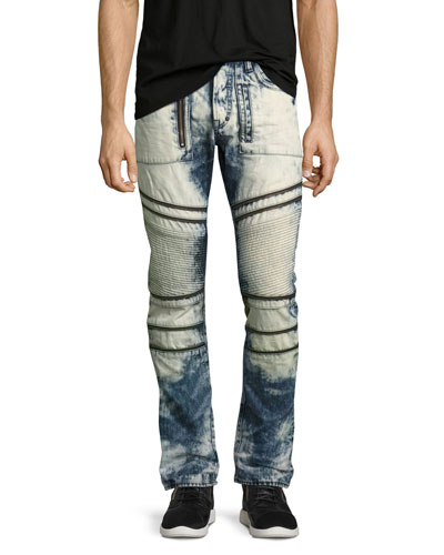 Demon Joint Heavy Bleached Moto Jeans, Indigo