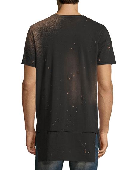 Embroidered Cherub Elongated T-Shirt, Black