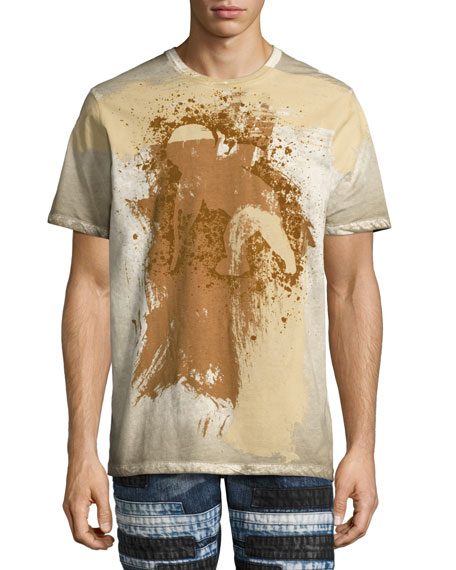Permafrost Paint Cherub Logo-T-Shirt, White/Beige/Brown