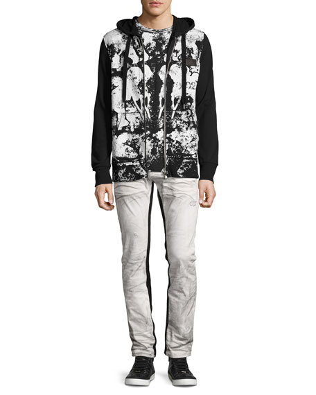 Demon Binary Slim-Straight Jeans with Tuxedo Stripe, White