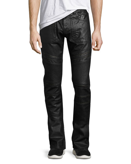 PRPS Demon Double Star Coated Moto Slim-Straight Jeans,