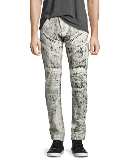 PRPS Demon Exobiology Heavy Painted Moto Slim-Straight Jeans,