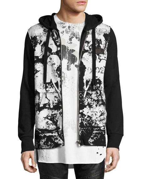 PRPS Abstract Paint-Splatter Zip-Front Hoodie, Black