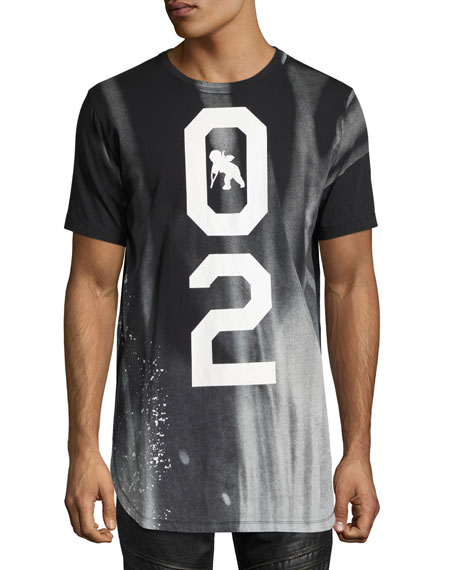 Intergalactic 02 Long Bleached T-Shirt, Black