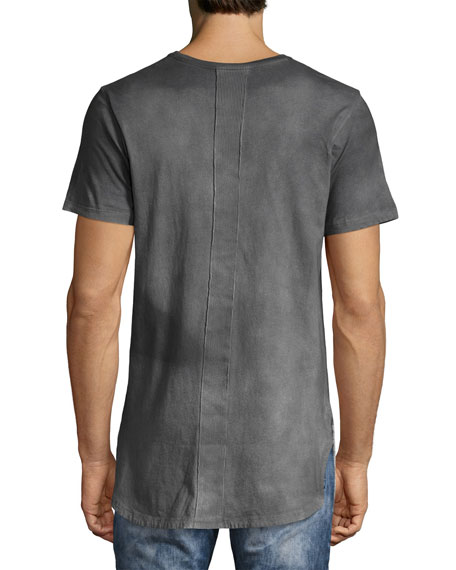 Reflector Two-Tone Elongated T-Shirt, Gray