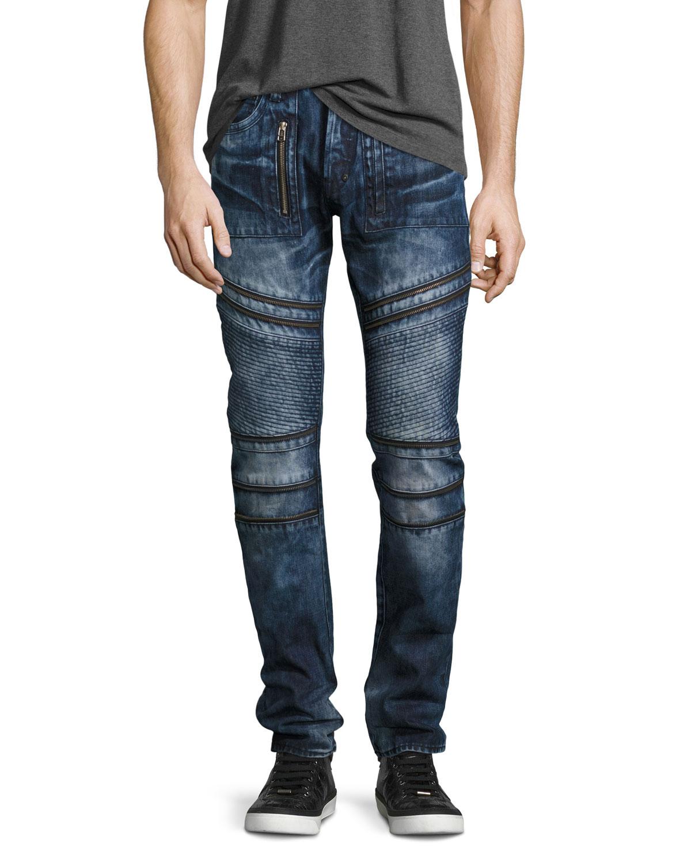 PRPS Demon Distressed Moto boot Fit Jeans 7i8RYHMD