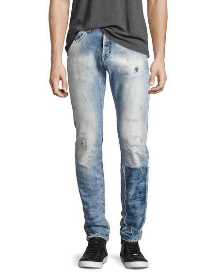 PRPS Demon Distressed Patchwork Slim-Straight Jeans, Riptide