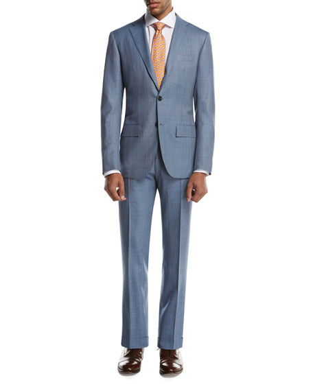Plaid Super 160s Wool Two-Piece Suit, Light Gray