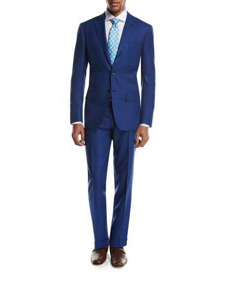 Textured Solid Two-Piece Suit, High Blue