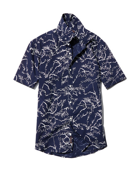 Palm Leaf Short-Sleeve Sport Shirt, Navy