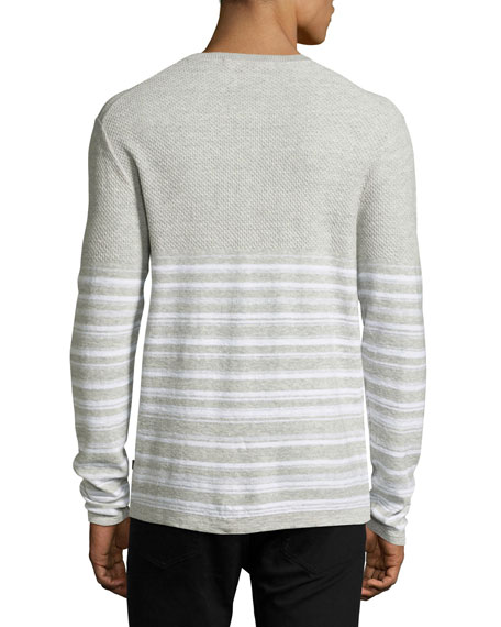Mixed-Texture Striped Henley, Gray