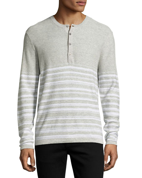 Michael Kors Mixed-Texture Striped Henley, Gray