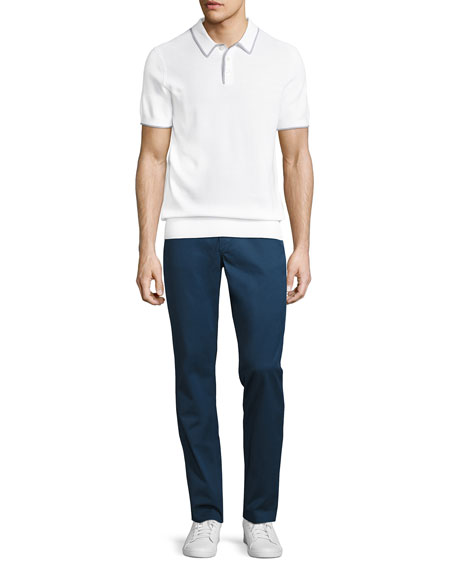 Stretch-Cotton Slim-Straight Trouser, Navy
