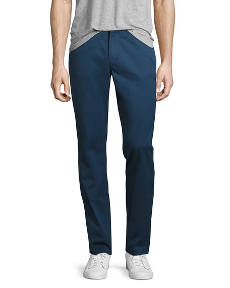 Michael Kors Stretch-Cotton Slim-Straight Trouser, Navy