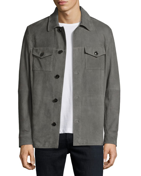 Suede Shirt Jacket, Gray