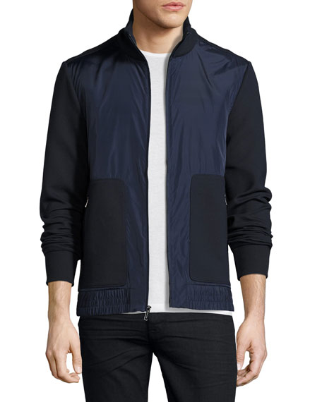 Michael Kors Knit & Tech Zip-Front Track Jacket,