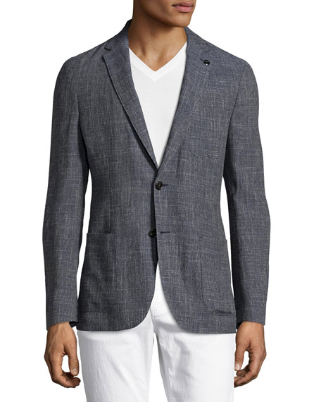 Michael Kors Wool-Linen Two-Button Blazer, Navy