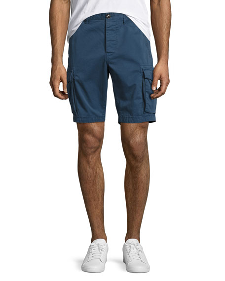 Cotton-Twill Cargo Shorts, Navy