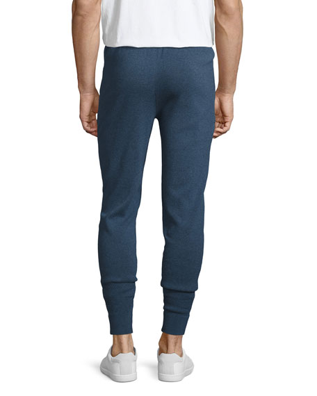 Marled Cotton Jogger Pants, Navy