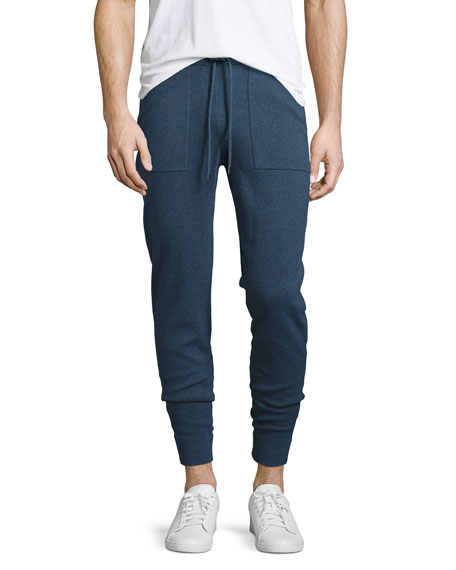 Marled Cotton Jogger Pants, Navy