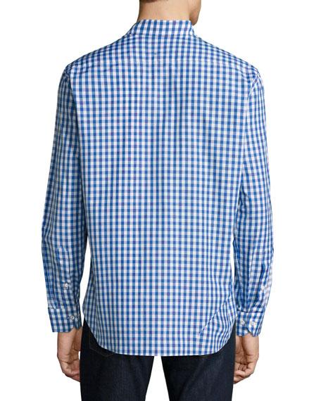 R by Robert Graham Lauren Gingham Sport Shirt with Skull Embroidery, Blue