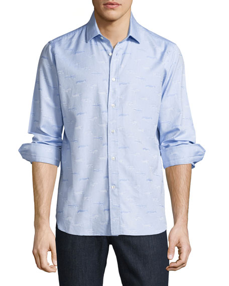 R by Robert Graham Ragtop Sport Shirt, Light Blue