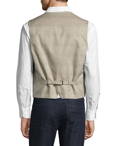 R by Robert Graham Jackson Paint-Splatter Pinstripe Vest, Navy/Multicolor