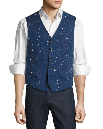 R by Robert Graham Jackson Paint-Splatter Pinstripe Vest, Navy/Multicolor