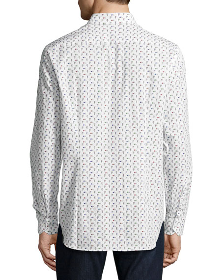 R by Robert Graham Scooter-Print Long-Sleeve Sport Shirt, White