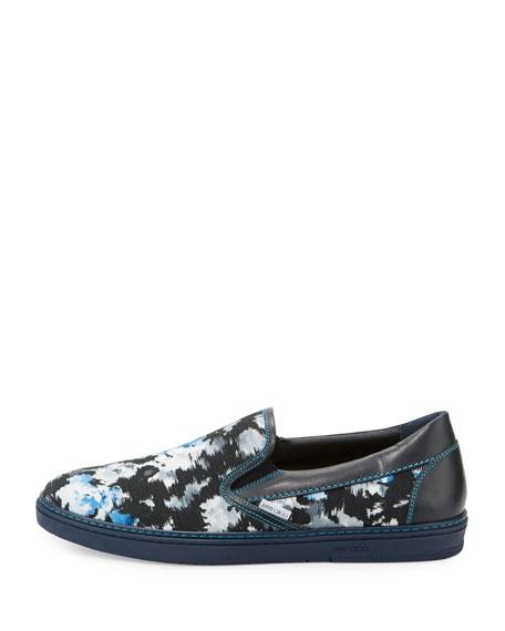 Grove Men's Floral Shantung Slip-On Sneaker, Black/Blue