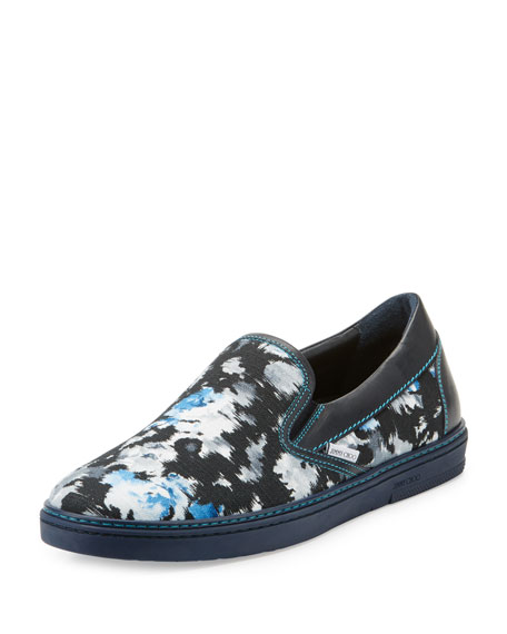 Jimmy Choo Grove Men's Floral Shantung Slip-On Sneakers,