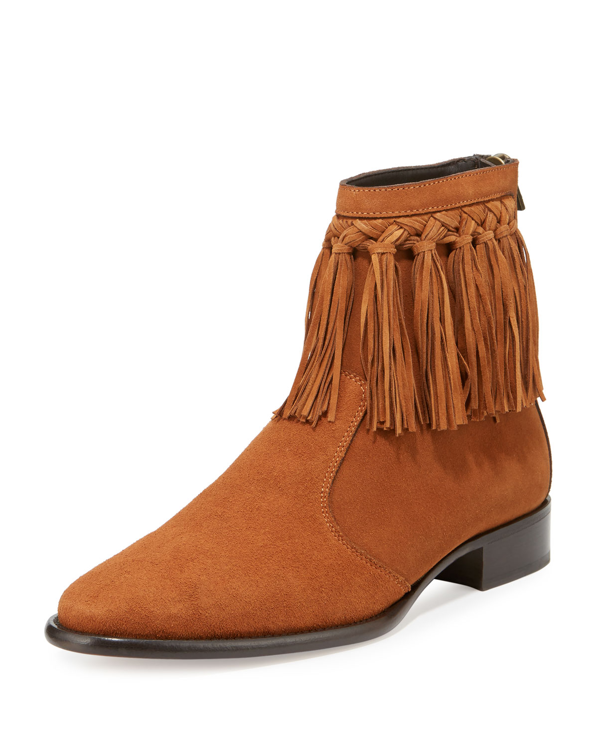 Jimmy Chooeric Men S Dry Suede Fringe Trim Ankle Boot Tan