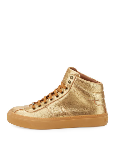 Men's Belgravia Metallic Leather High-Top Sneakers, Gold